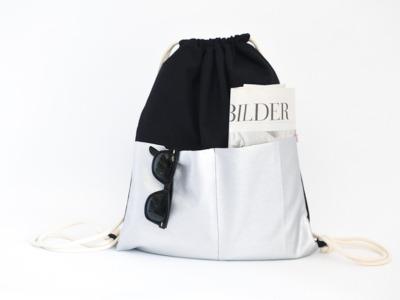 Turnbeutel - Fronttaschen Schwarz // Silber