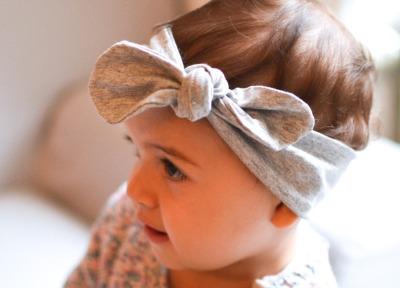 Haarband Baby - Hellgrau meliert