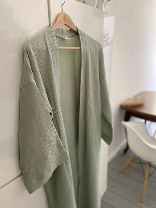 Kimono Mantel - Musselin // Eukalyptus
