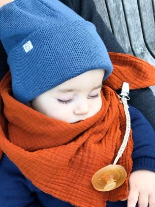 Kinder Beanie Strick - Staubblau