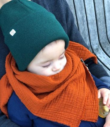 Kinder Beanie Strick - Moosgrün