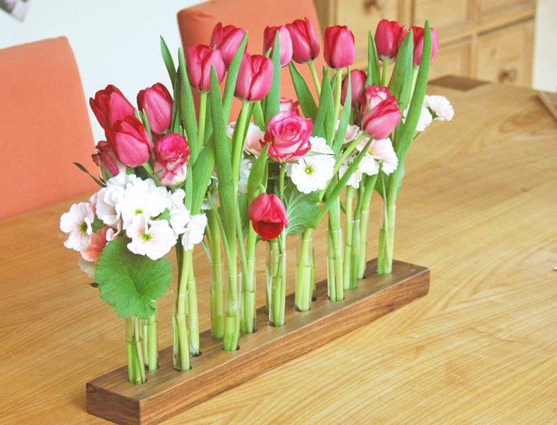 Blumenvase 16 aus Nuss und Glas