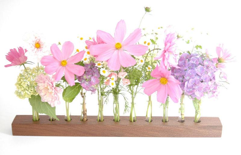 Blumenvase in Nuss Blumenwiese Reagenzglasvase 3