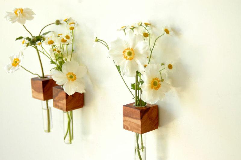 1 Vase Kuehlschrankmagnet Holz Magnet