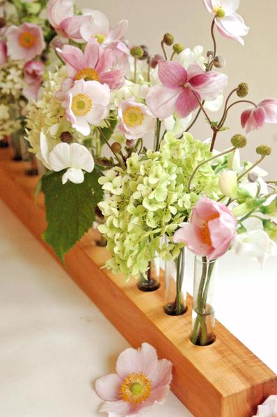 Vase aus Holz, Blumenwiese, Blumenvase aus Kirsche - 3