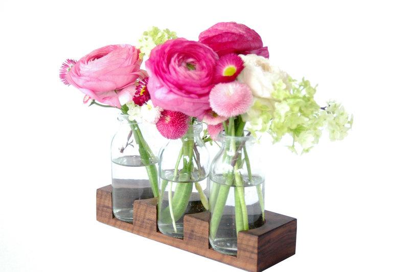 2 Milchkanne aus Nuss Blumenvase VaseHolzvase - 1