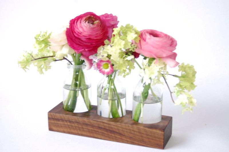 2 Milchkanne aus Nuss Blumenvase VaseHolzvase