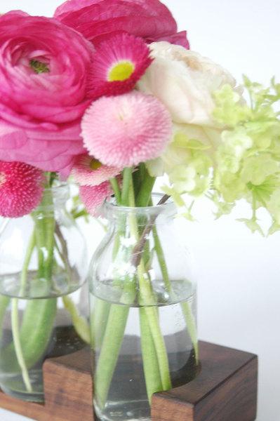 2 Milchkanne aus Nuss, Blumenvase, Vase,Holzvase - 4