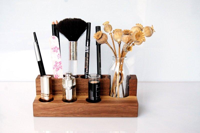 Kosmetikstaender mit Blumenvase Nuss Aufbewahrung