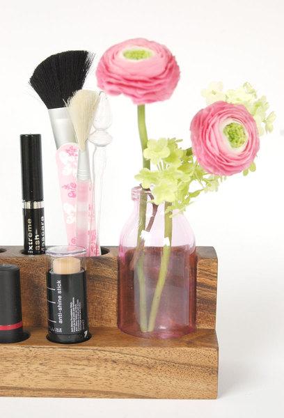 Kosmetikständer mit Blumenvase Nuss Aufbewahrung 3