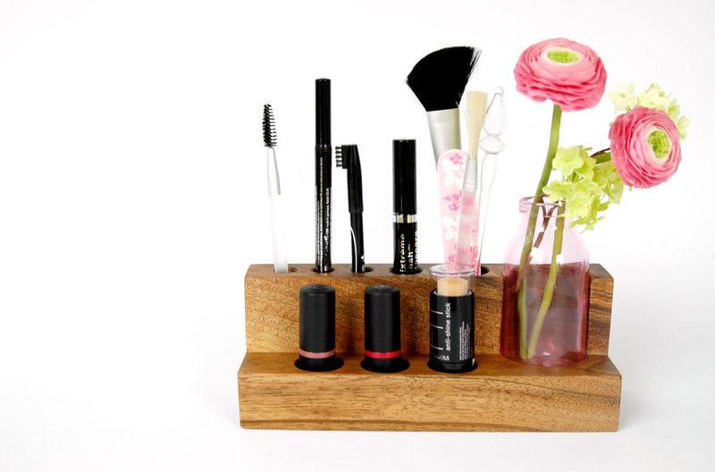 Kosmetikständer mit Blumenvase Nuss Aufbewahrung - 4