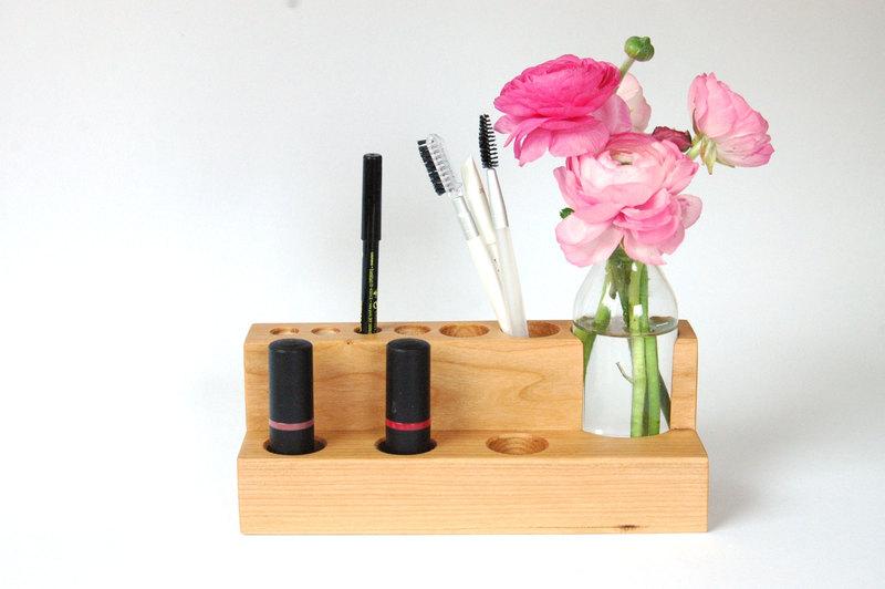 2 Kosmetikständer mit Blumenvase in Kirschbaum