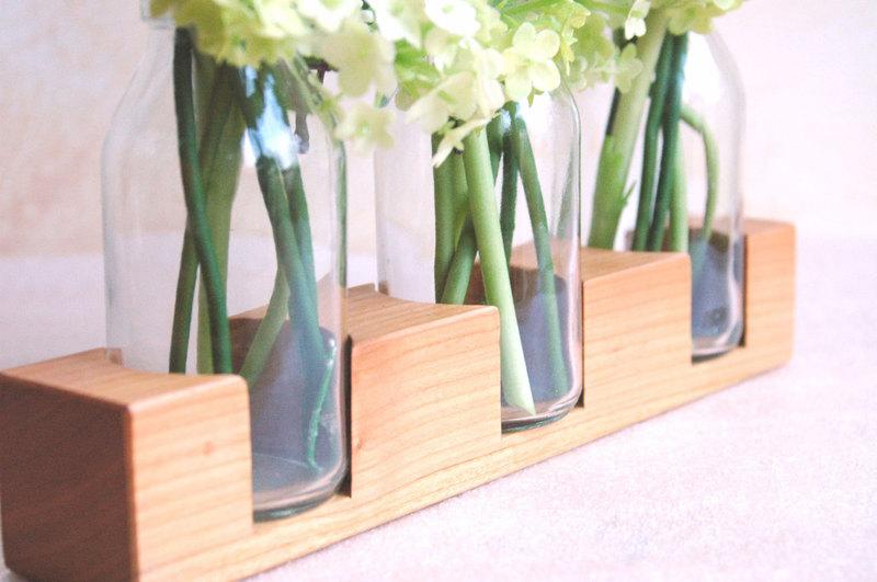 3 Milchkanne aus Kirsche Vase Holzvase - 1