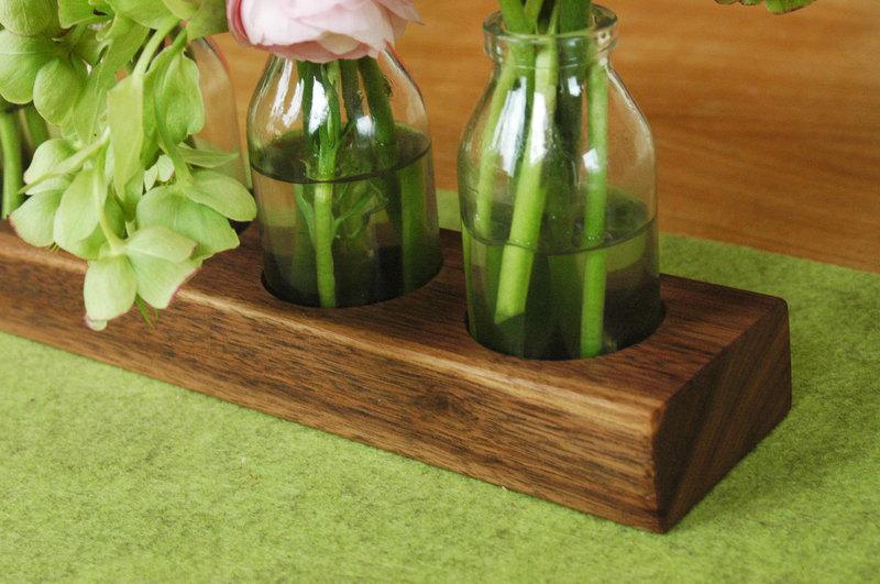4 Milchkanne aus Nuss Holzvase Blumenvase Vase