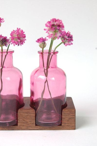 2 Milchkanne aus Nuss rosa Blumenvase