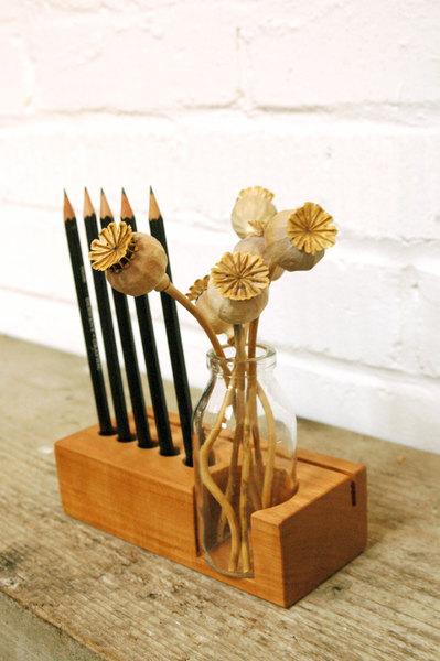 2 Stifthalter mit Vase und Kartenhalter - 3