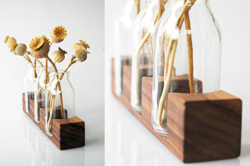 3 Milchkanne aus Nuss Vase Blumenvase - 1