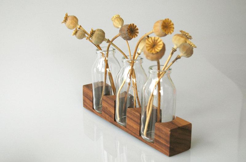 3 Milchkanne aus Nuss Vase Blumenvase - 2