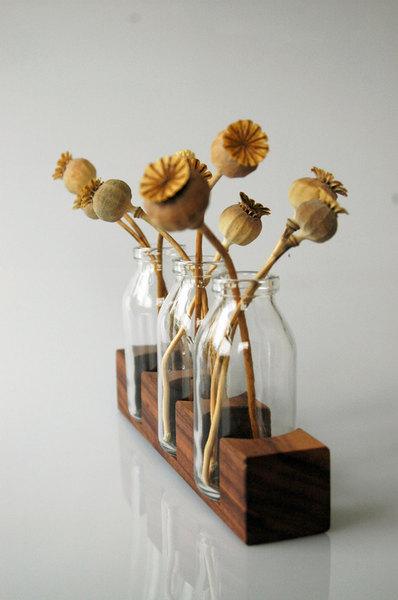 3 Milchkanne aus Nuss, Vase, Blumenvase, Holz - 4