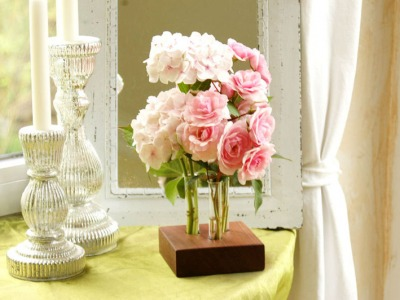 18 Blumenvase aus Nuss
