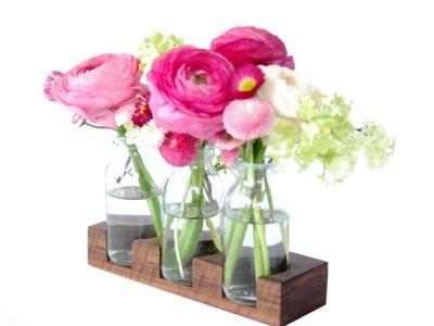 2 Milchkanne aus Nuss, Blumenvase, Vase,Holzvase