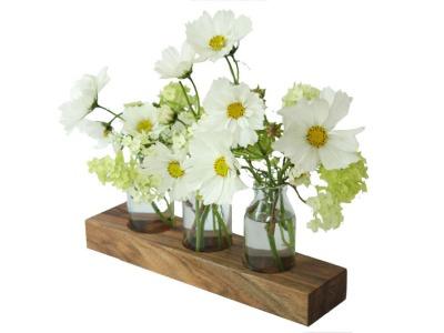 1 Milchkanne aus Nuss Blumenvase Vase Holzvase