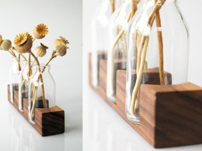 3 Milchkanne aus Nuss Vase Blumenvase Holz