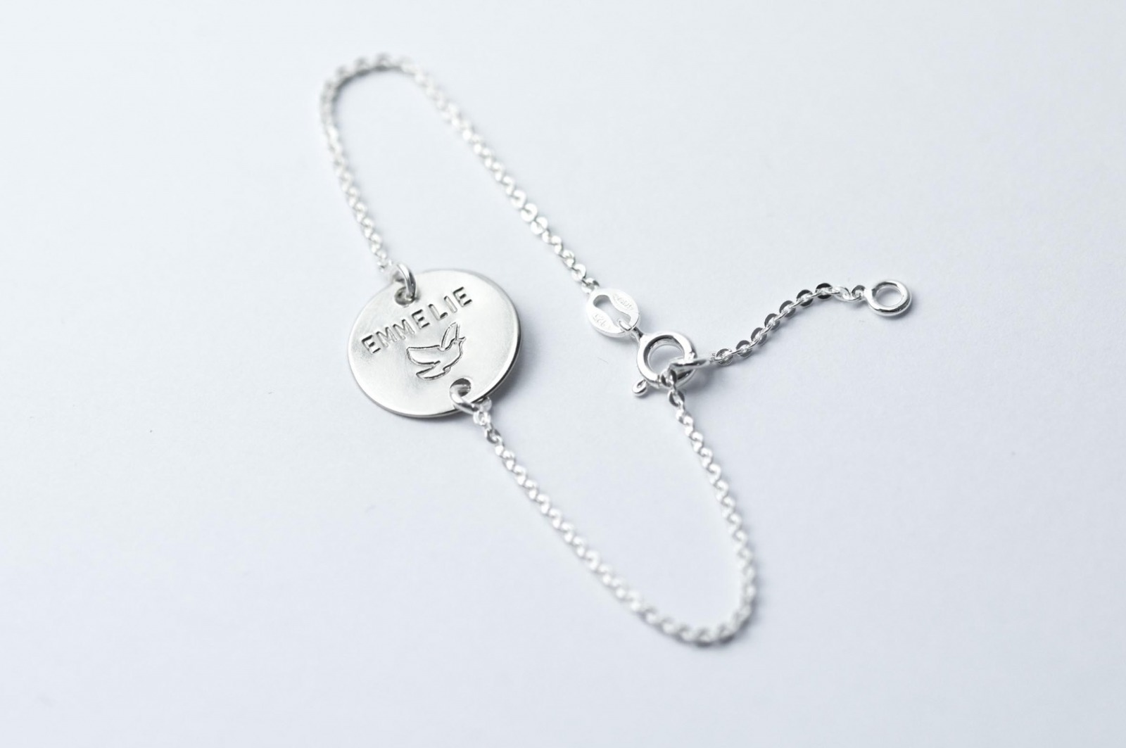 Zartes Silberarmband 1 - Namens- Geburts- Spruchband