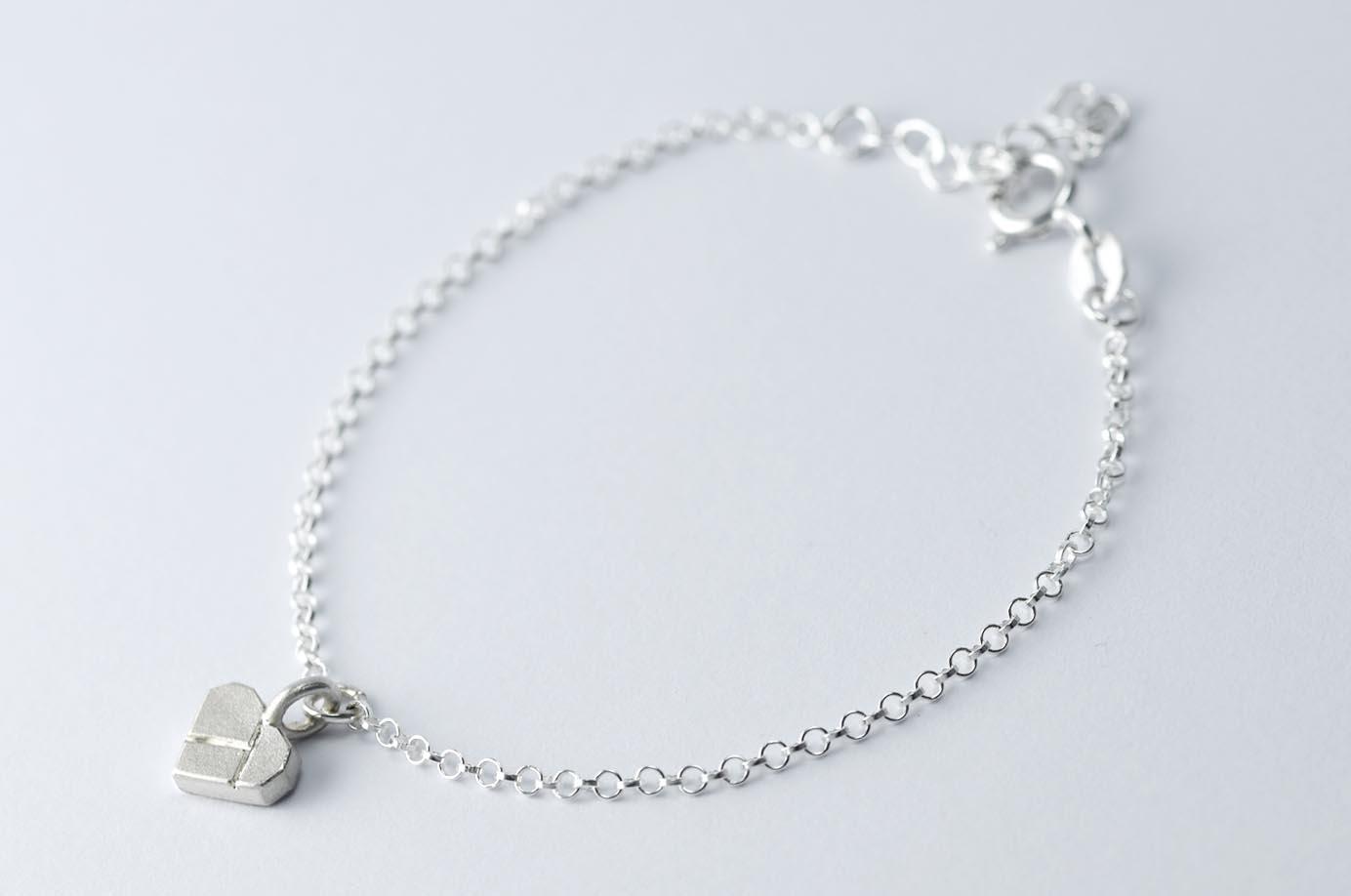 Zartes Tangram Armband HERZCHEN VOeGELCHEN SCHIFFCHEN 935 Silber