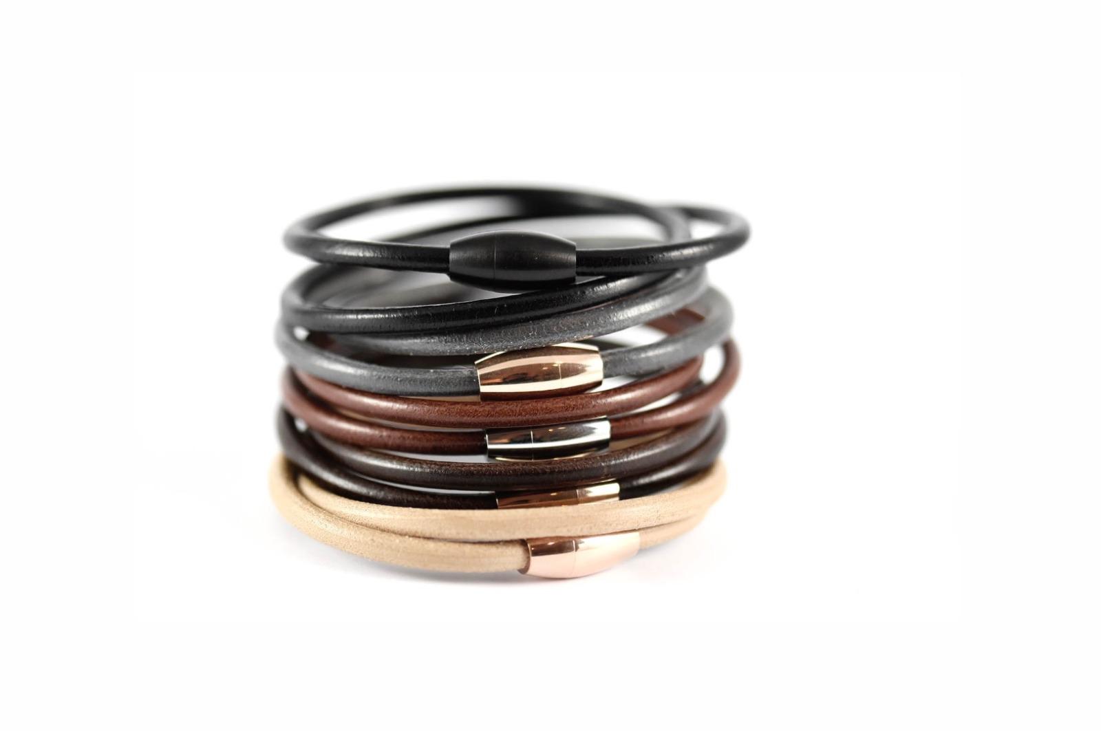 Wickelarmband Kernleder, Magnetverschluss - 4