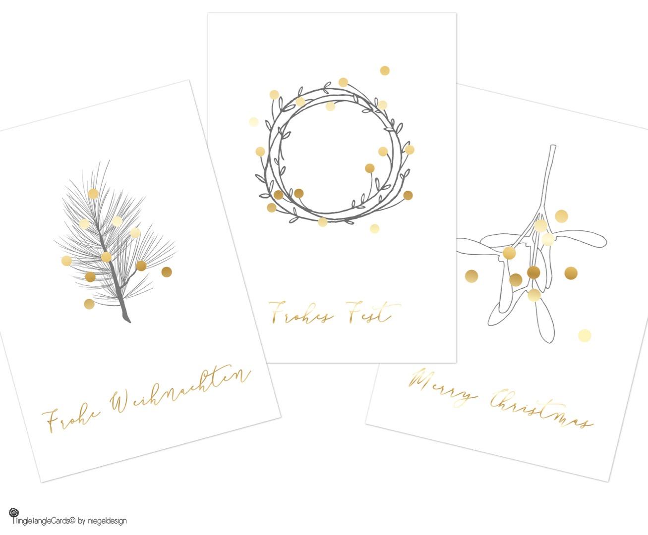 tingletangle Christmas Card Gold 3er Set