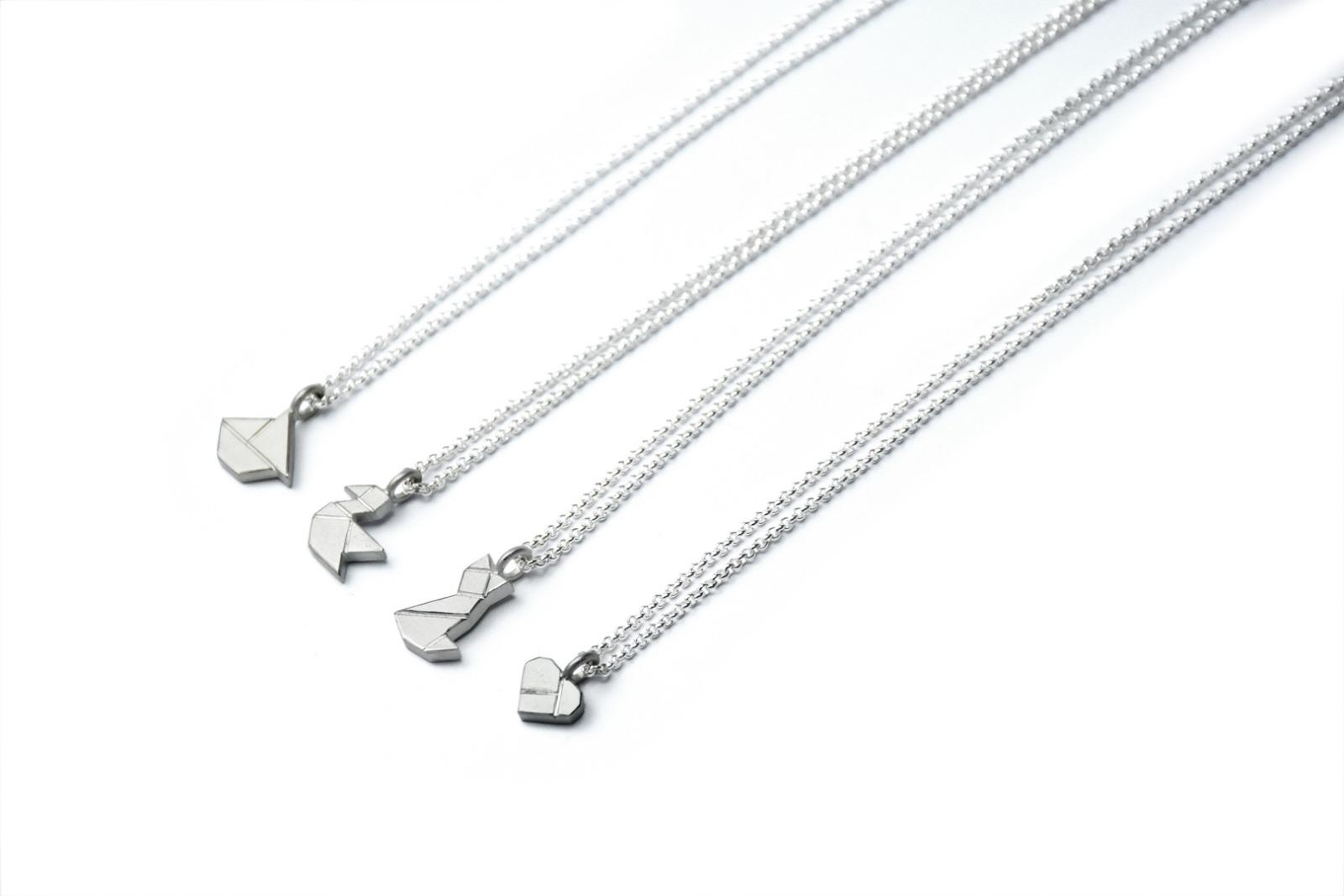 Tangram-Kette VÖGELCHEN, 925 Silber - 1