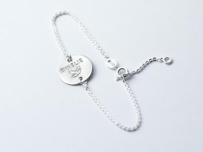 Zartes Silberarmband 1 - Namens- Geburts- Spruchband - Indivdualisierbares Armband 925er Silber mit handgestempeltem Text Daten und Symbolen