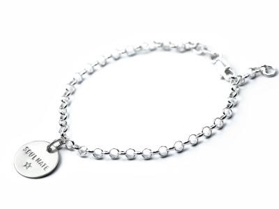 Silberarmband - Namens- Geburts- Spruchband - Indivdualisierbares Armband 925er Silber mit handgestempeltem Text Daten und Symbolen