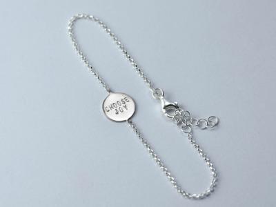 Zartes Silberarmband 2 - Namens-, Geburts-, Sprucharmband - Indivdualisierbares Armband, 925er Silber, mit handgestempeltem Text, Daten und Symbolen