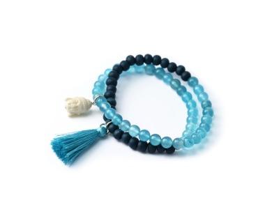 DEEP BLUE Zweireihiges elastisches Edelstein-Armband azurfarbene