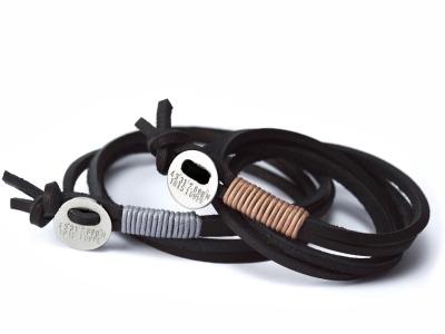Wickelarmband Button DELUXE - Wickelarmband Latigoleder 925er Silber farbige Baumwolle