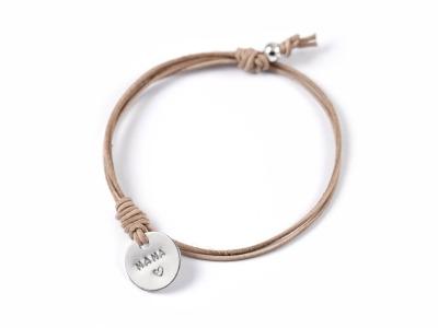 Family Charm Classic 2 - Namens- Geburts- Spruchband - Indivdualisierbares Armband 925er Silber mit handgestempeltem Text Daten und Symbolen