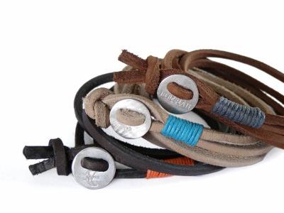 Wickelarmband Button CLASSIC - Wickelarmband Latigoleder 925er Silber farbige Baumwolle