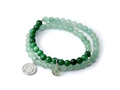 COURAGE SPIRIT Zweireihiges elastisches Edelstein-Armband mit
