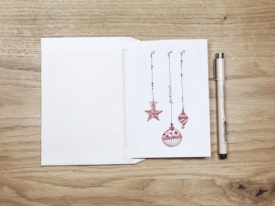 festlich - Christmas Card - Klappkarte mit Umschlag