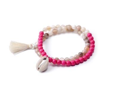 PINK ENERGY - Zweireihiges elastisches Edelstein-Armband