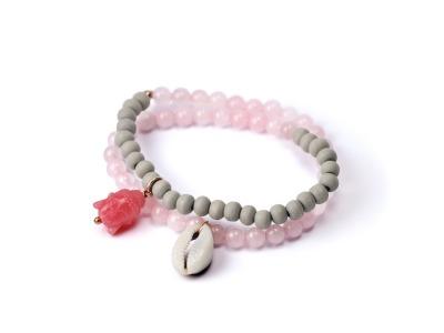 ROSE AND GREY Zweireihiges elastisches Edelstein-Armband