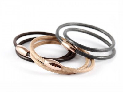 Wickelarmband Kernleder Magnetverschluss - Individualisierbares Kernlederarmband mit hochwertigem Edelstahl-Magnetverschluss