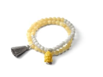 Gemstone Bracelet MALA YELLOW GREY Zweireihiges