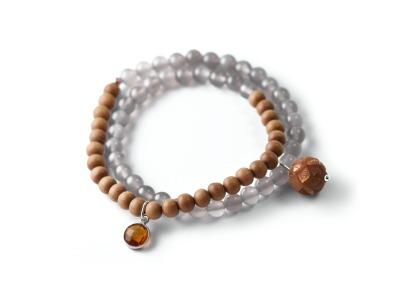 MOON AND WOOD Zweireihiges elastisches Edelstein-Armband