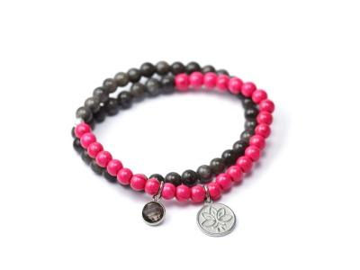 PINK LOTUS Zweireihiges elastisches Edelstein-Armband mit