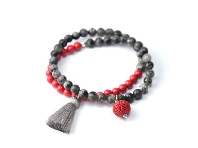 SELF CLARITY Zweireihiges elastisches Edelstein-Armband mit