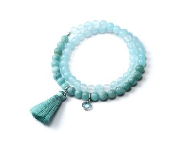 OCEAN BREATHE Zweireihiges elastisches Edelstein-Armband mintfarbenem