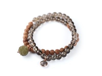 NATURE SENSE Zweireihiges elastisches Edelstein-Armband mit